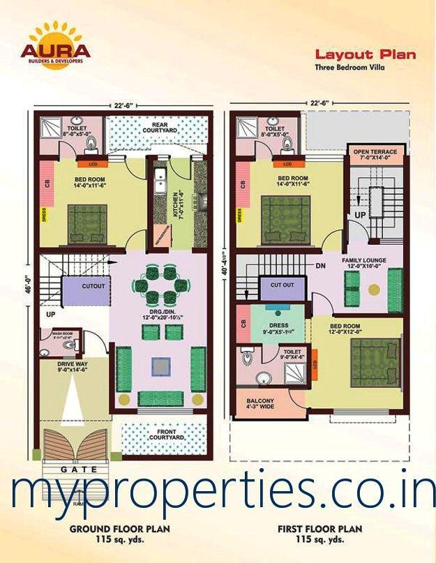 3 bhk duplex villas kothi in sunny enclave sector 125 for 100 sq yds floor plan