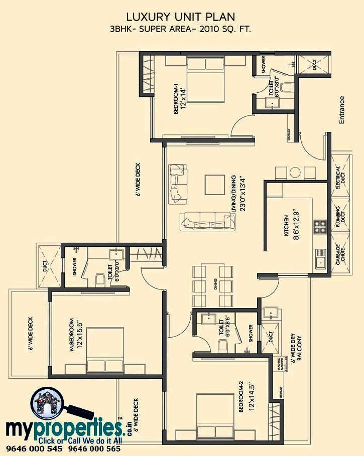 3 bhk floor plans in gold mark zirakpur