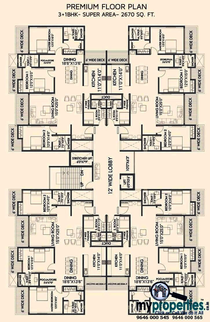 cluster plan of 3+1 bhk gold mark zirakpur